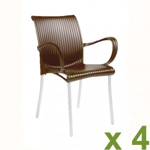 Dama chair coffee x4