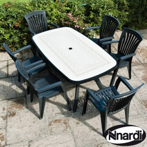 Nardi Toscana 165 Table with 6 Diana chairs - Anthracite