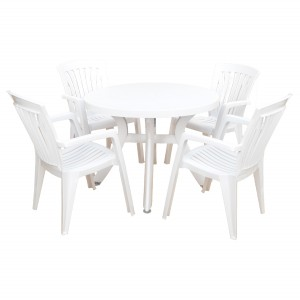 Toscana 100 table whire with 4 Diana chairs