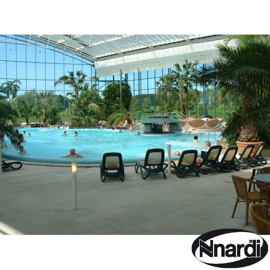 Alfa loungers around indoor pool