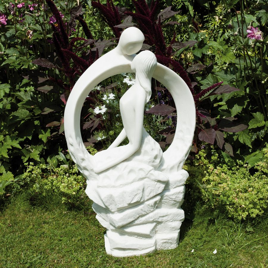 Blissful Halo statue in white marble effect