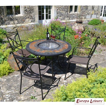 Durango fire pit table tall with Treviso chairs