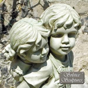 Jane & John garden statue close up