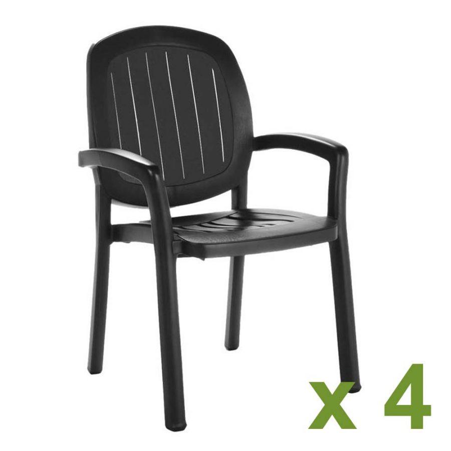 Kappa chair Anthracite x4