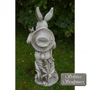 Mr Rabbit garden statue back view