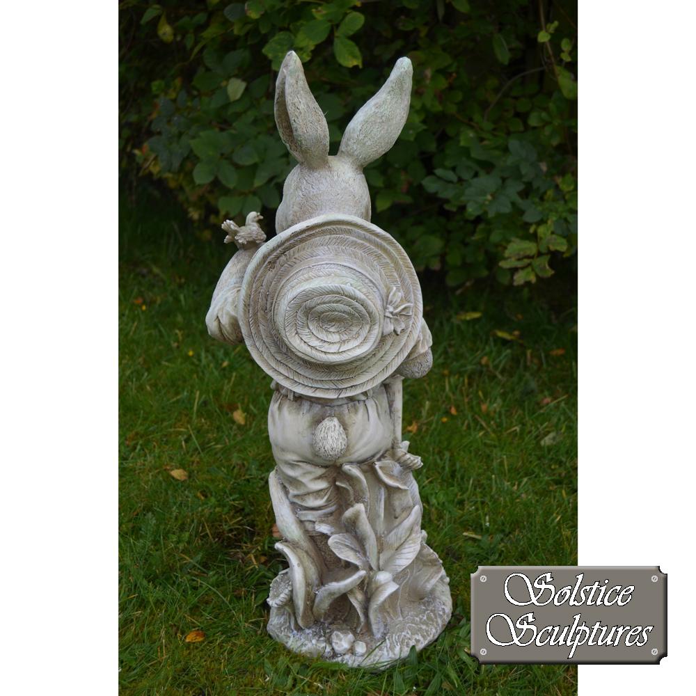 Mr Rabbit garden statue back view