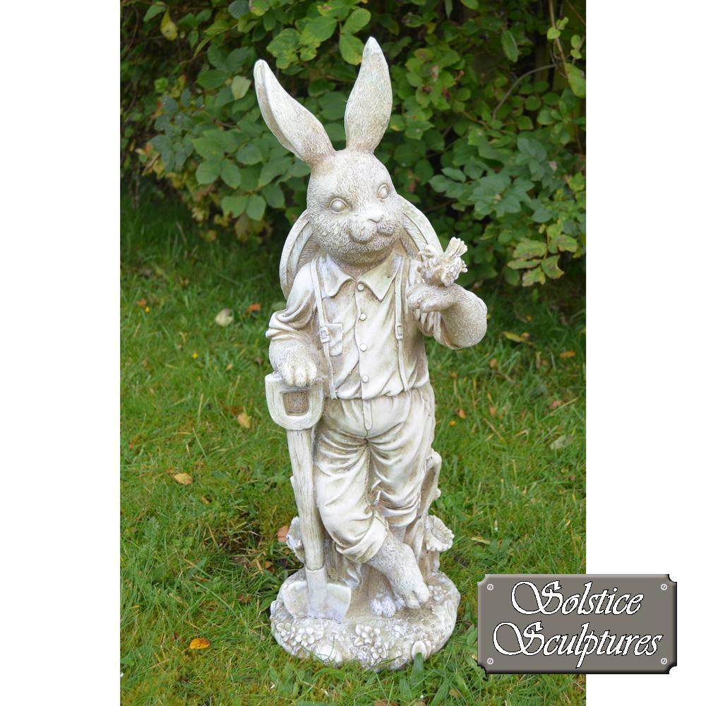 Mr Rabbit garden statue front view