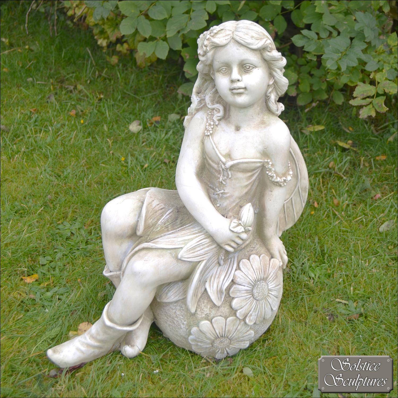 Petal Fairy Statue Stone Effect