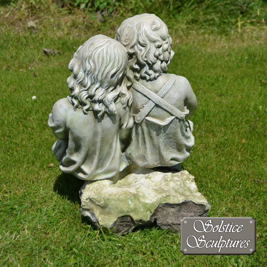 Polly & Peter garden statue, view from back
