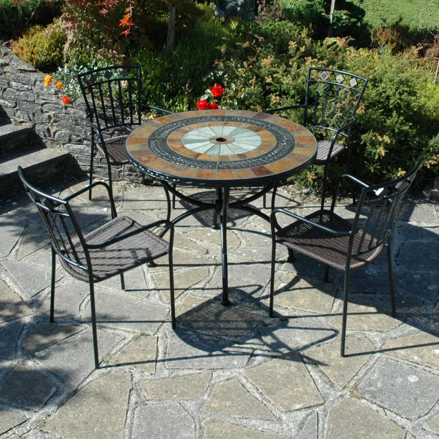 Alcira 100cm table with 4 Malaga chairs