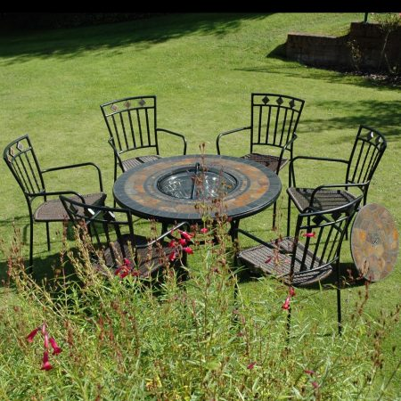 Durango firepit table (low) with 6 Malaga chairs