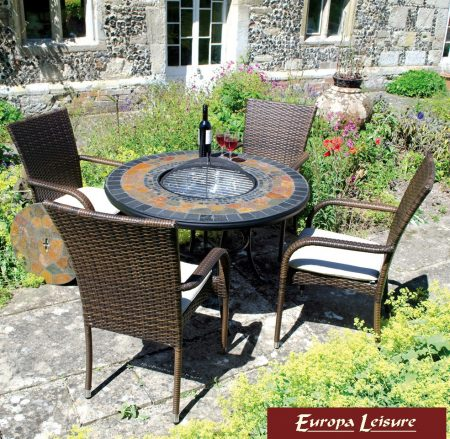 Durango tale firepit table with Castello chairs
