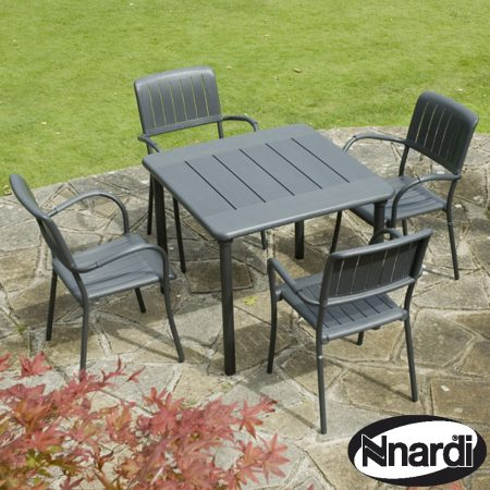 Maestrale 90 Table with 4 Musa chairs - Anthracite