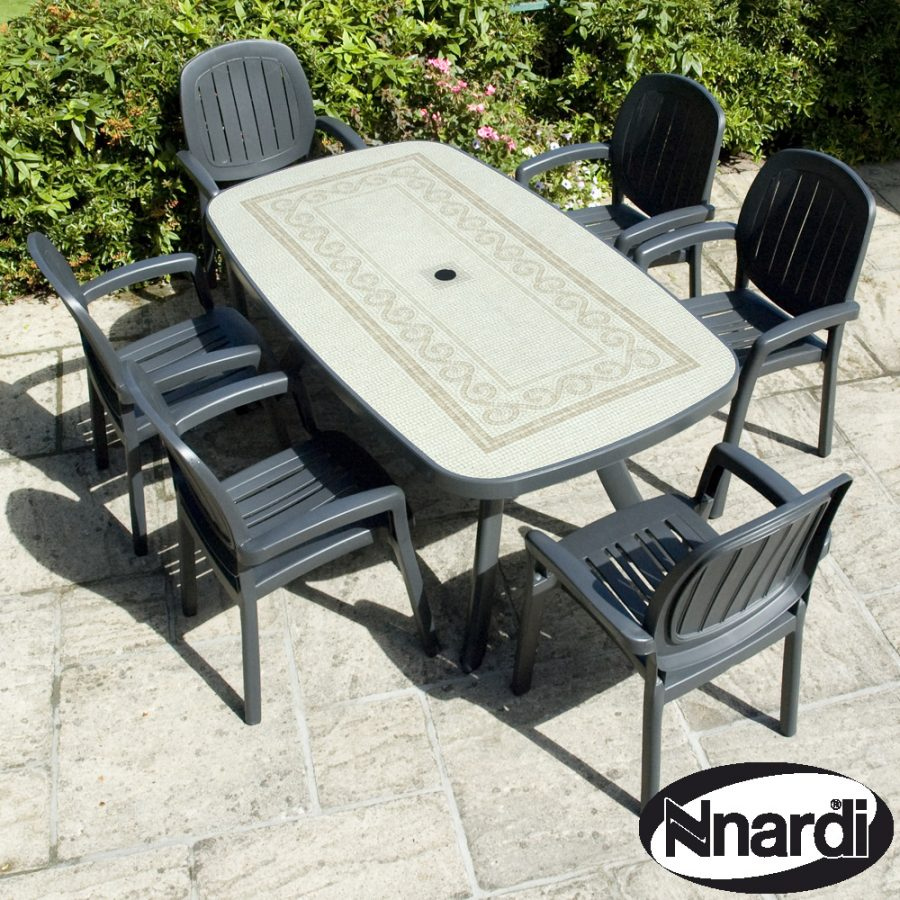 Nardi Toscana 165 Table with 6 Kappa chairs - Anthracite