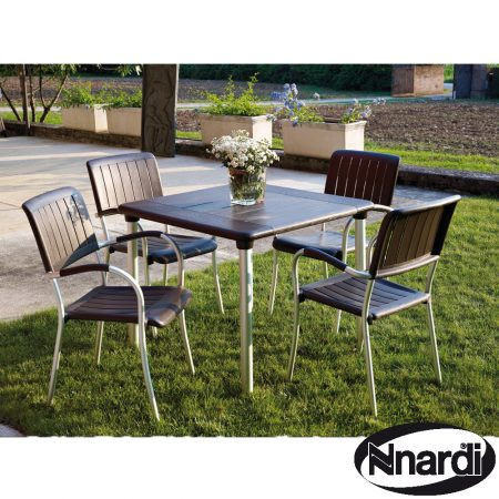Maestrale 90 table with 4 Musa chairs in Coffee