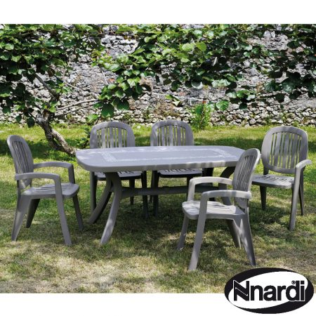 Toscana 165 table with Creta chairs in Turtle Dove