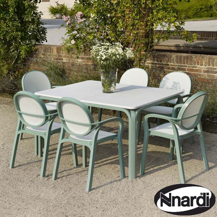 Lauro garden Table with 6 Gemma garden chairs - Edelwiss colour