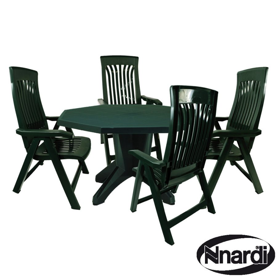 Green Olimpo with 4 Green Flora Chairs
