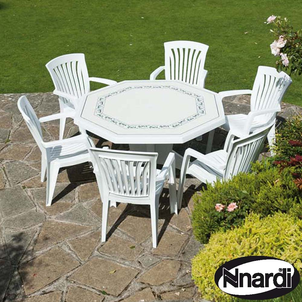 Nardi 140cm Olimpo Table and 6 Diana chairs - White