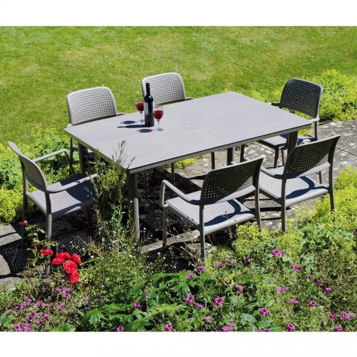 LIBECCIO TABLE WITH 6 BORA CHAIR SET TURTLE DOVE LG2