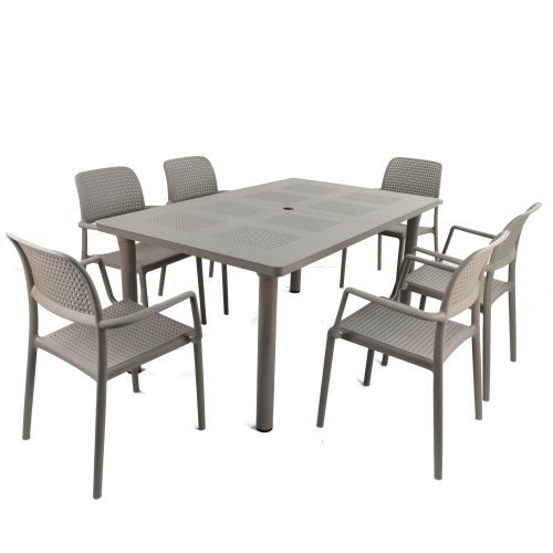 LIBECCIO TABLE WITH 6 BORA CHAIR SET TURTLE DOVE WG1