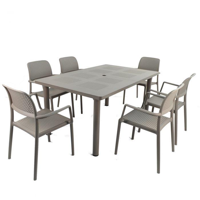 LIBECCIO TABLE WITH 6 BORA CHAIR SET TURTLE DOVE WG1