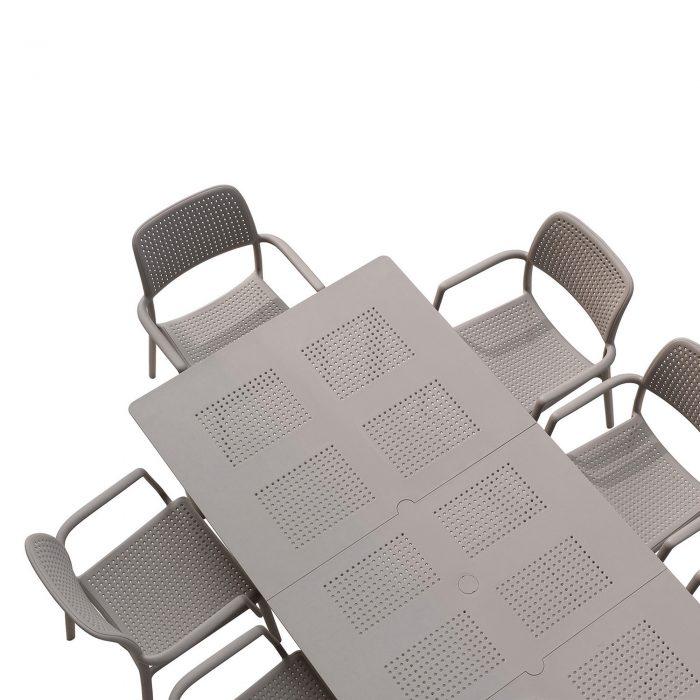 LIBECCIO TABLE WITH 6 BORA CHAIR SET TURTLE DOVE WG2