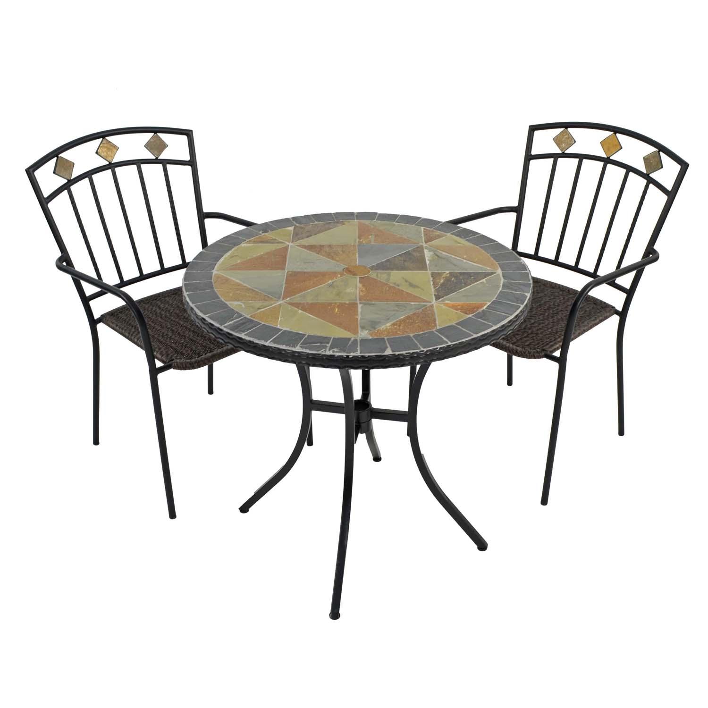 TOBARRA 76CM BISTRO TABLE WITH 2 MALAGA CHAIR SET WG1