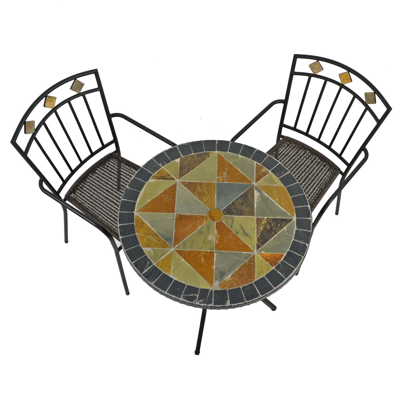 TOBARRA 76CM BISTRO TABLE WITH 2 MALAGA CHAIR SET WG2