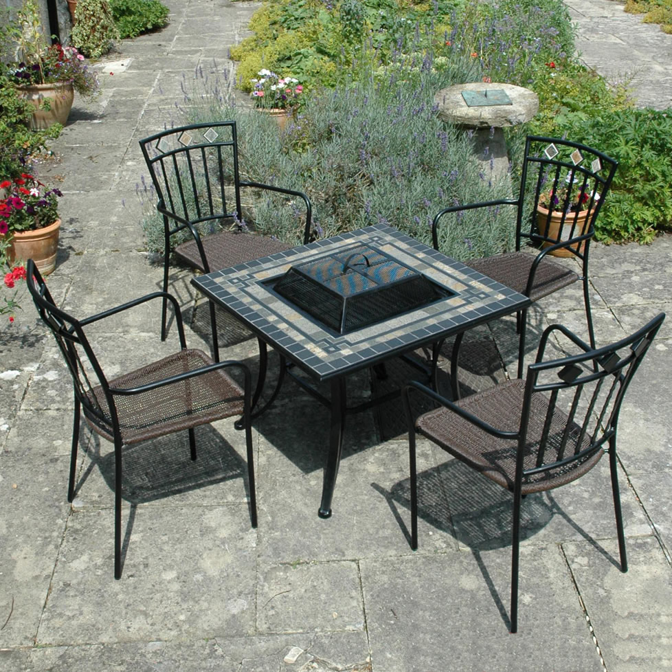 Miranda Firepit Garden Barbecue Table Set