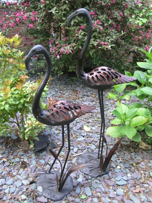 Pair of cast iron Flamingos