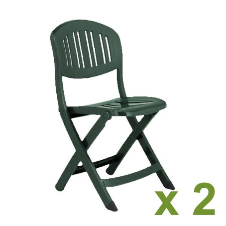 Capri Folding chair in Green pack of 2