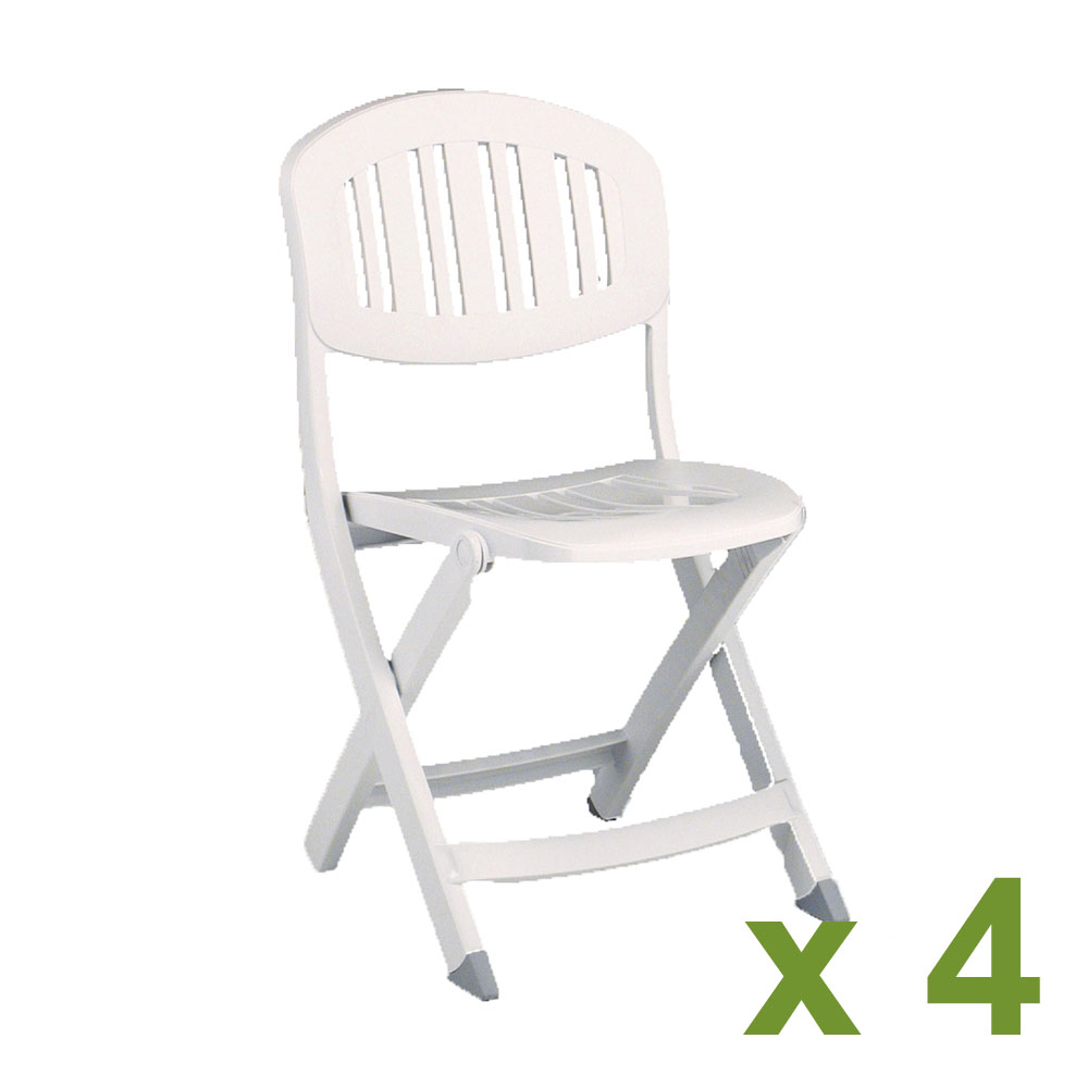 Capri folding chair in white x 4