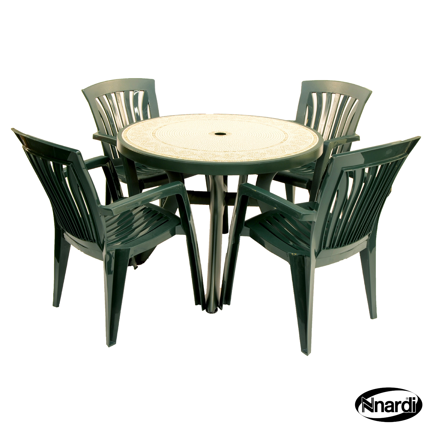 Green Toscana 120 table with 4 Green Diana chairs