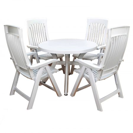 Toscana 100 table with 4 flora reclining chairs