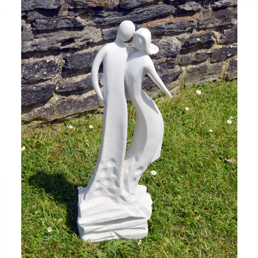 First Date Statue in white marble effect
