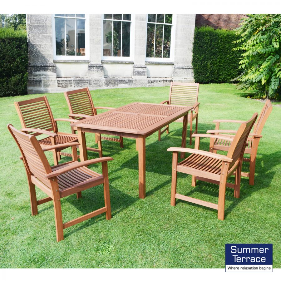 Tornio hardwood table and 6 Tornio chairs
