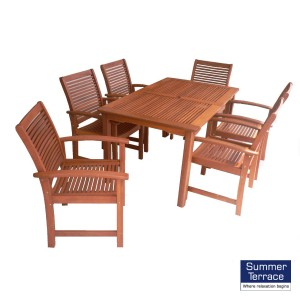 Tornio hardwood table with 6 Tornio chairs