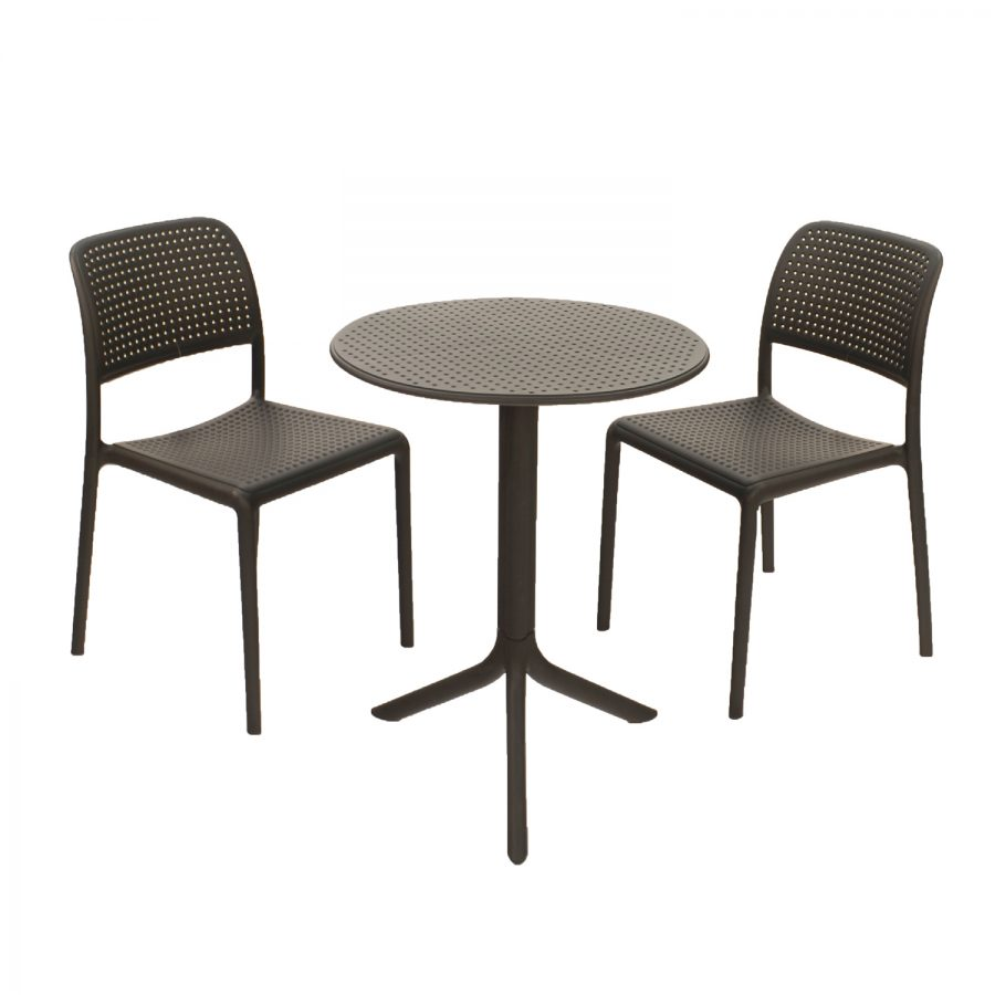 Step Table with Bistrot chairs - Anthracite