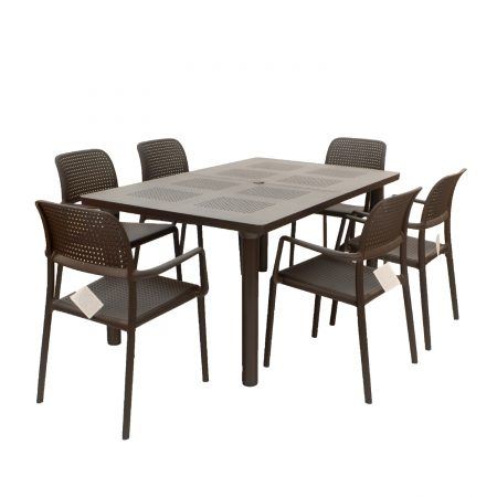 Libeccio extending table with 6 Bora chairs in Coffee