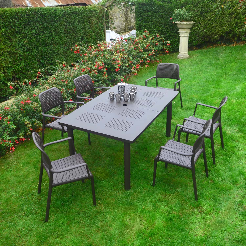 Libeccio Table with 6 Bora chairs all in Coffee colour