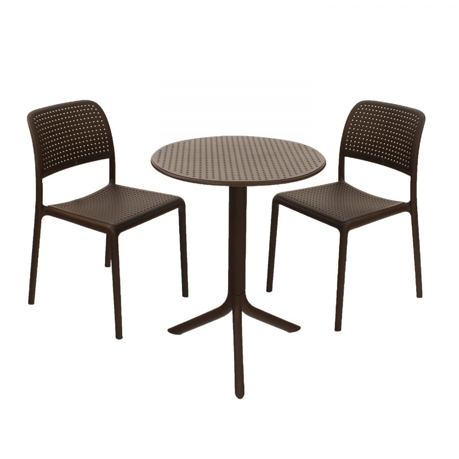 Step Table with Bistrot chairs - coffee