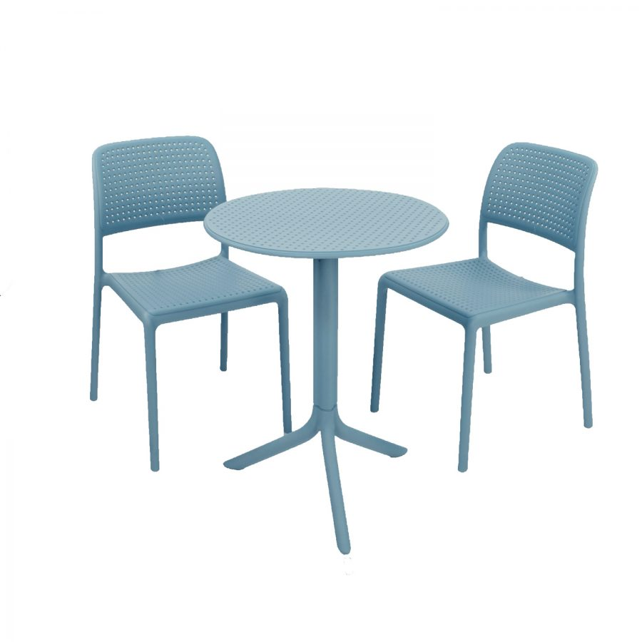 Step table with Bistrot chair - sky blue