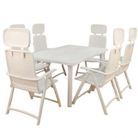 Libeccio extending table with 6 AquaMarina reclining chairs in White