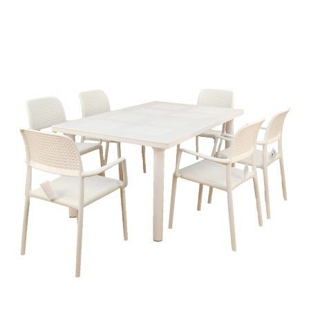 Libeccio extending table with 6 Bora chairs in White
