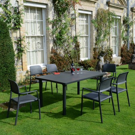 LIBECCIO TABLE WITH 6 BORA CHAIR SET ANTHRACITE LG2