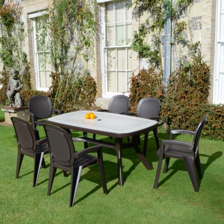 Toscana 165 Mosaic effect top with 6 Creta Wicker Chair - coffee