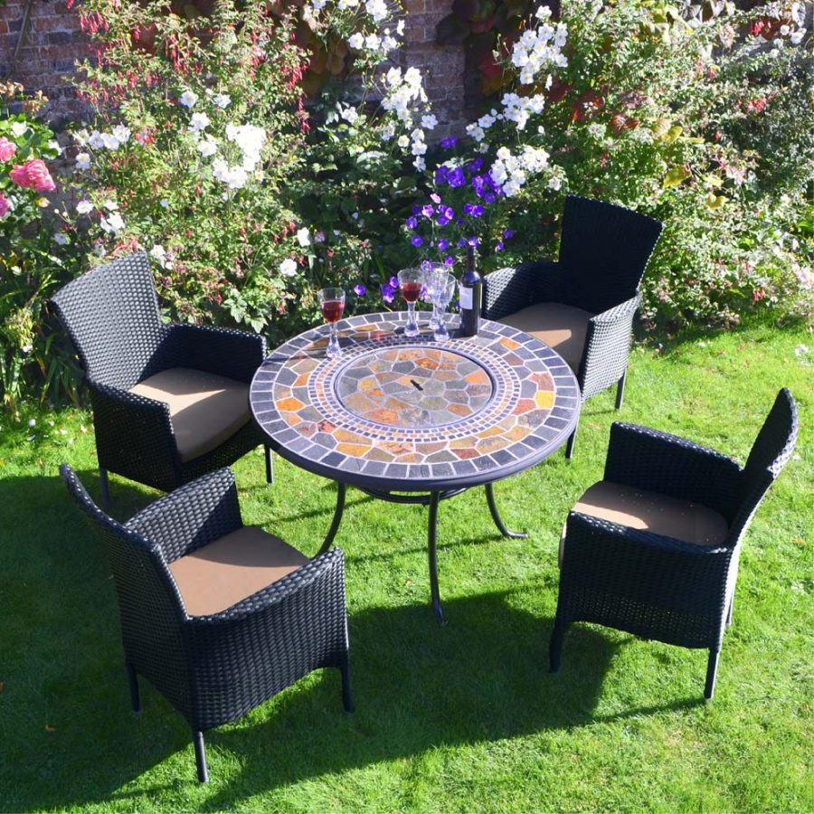 Durango Patio Table with 4 black Stockholm Chairs - lid on table