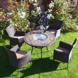 Durango Patio Table with 4 brown Stockholm Chairs