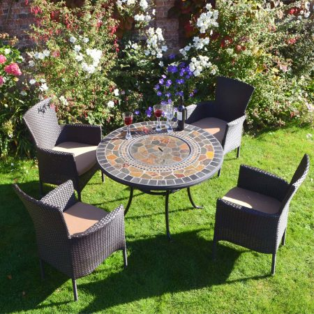 Durango Patio Table with 4 brown Stockholm Chairs - lid on table